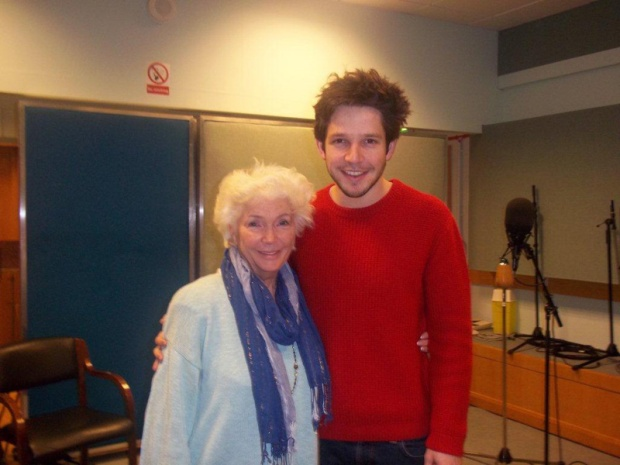 Damien Molony and Fionnula Flanagan during 'The Hill Bachelors' recording. (c) photo credit BBC Northern Ireland Radio Drama (please do not copy)