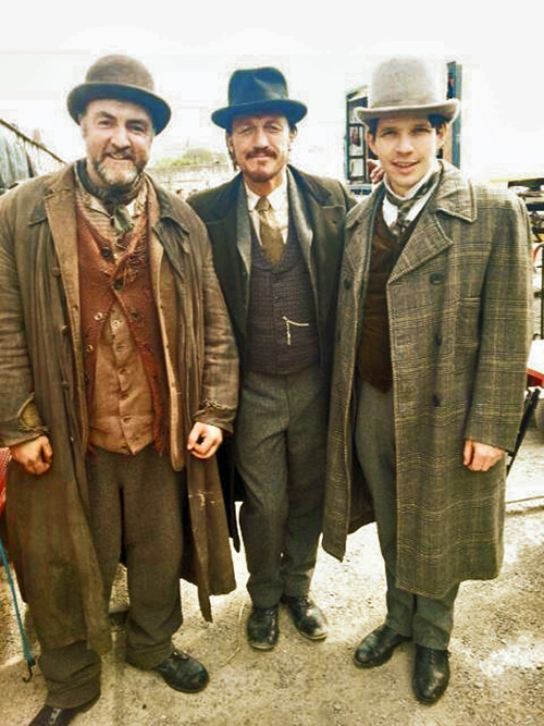 Glenn Speers, Jerome Flynn and Damien Molony filming Ripper Street in Dublin. Photo credit (c) Glenn Spears