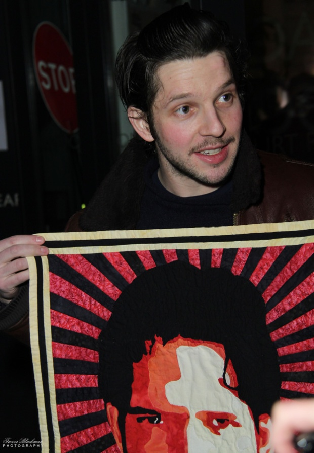 Damien receiving 'Show No Mercy' quilt at the Royal Court Theatre, March 2013. photo credit (c) Trevor Blackman Photography