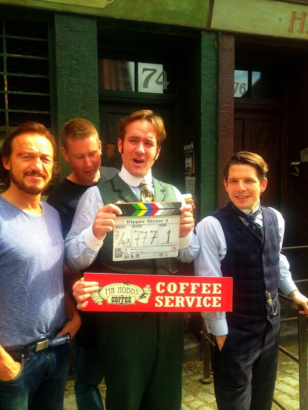 Jerome Flynn, Mattew Macfadyen and Damien Molony on Ripper Street set, Dublin, 30 August 2013. Photo Credit Mr Hobbs Coffee