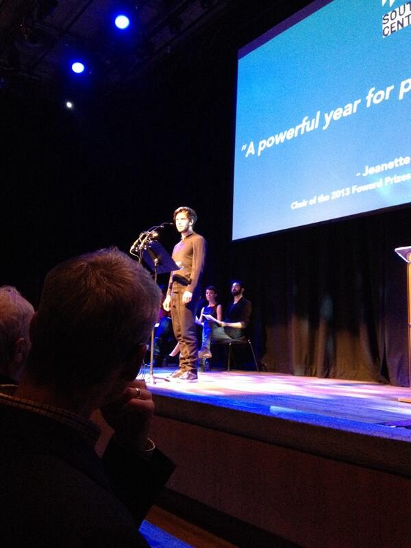 Damien Molony reading 'War Reporter' by Dan O'Brien at the 2013 Forward Prizes for Poetry. Photo credit forwardartsfoundation.org