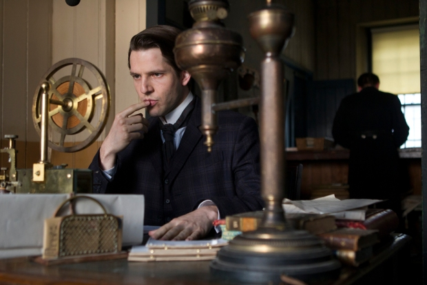 DC Flight (Damien Molony) sits in the telegraph room, Ripper Street 2 Episode 7. (c)  Tiger Aspect