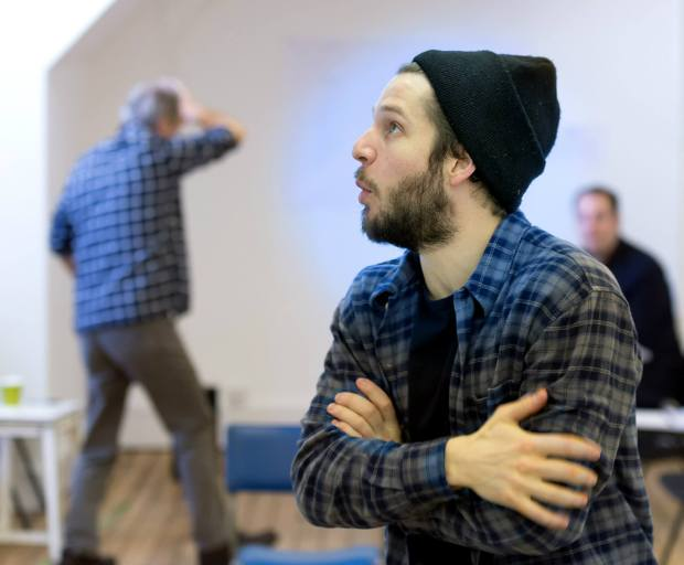 Damien Molony and William Gaminara, 'The Body of an American' rehearsal. Photo credit (c) Bill Knight, the Gate Theatre