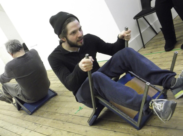 Damien Molony in rehearsal for The Body of an American. Photo credit Royal & Derngate