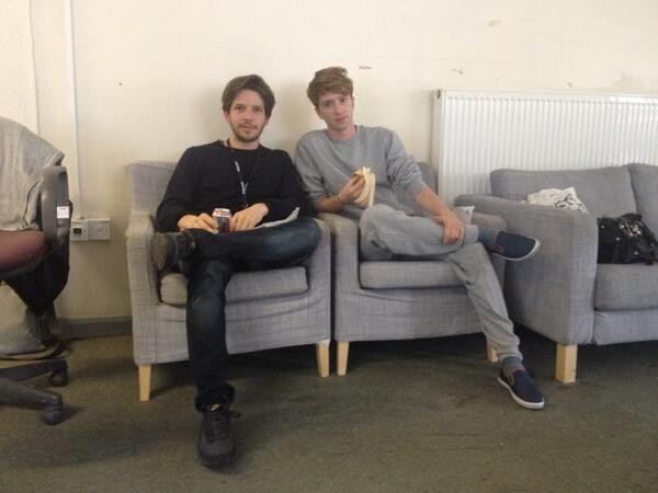 Damien Molony and Luke Newberry behind the scenes of 'Suspects', photo credit Kara Manley