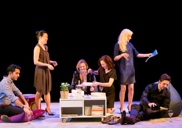 Parth Thakerar (Amal), Vera Chok (Bo), Lucy Robinson (Ursula), Rosie Hilal (Julia), Olivia Vinall (Hilary), Damien Molony (Spike) © John Persson