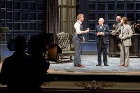 Behind the scenes at the No Man's Land camera rehearsal. Photo (Owen Teale, Patrick Stewart, Ian McKellen and Damien Molony) by Ludovic des Cognets.