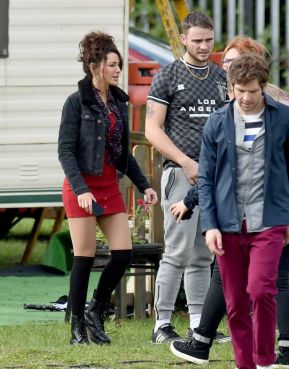 Damien (Dylan) and Michelle Keegan {Erin) filming 'Brassic'. Source: Manchester Evening News