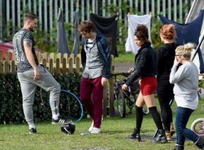 Damien (Dylan) and Michelle Keegan {Erin) filming 'Brassic'. Source: The Metro