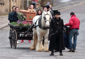 Damien (Dylan) and Michelle Keegan (Erin) filming 'Brassic', 26 November. Source: The Metro